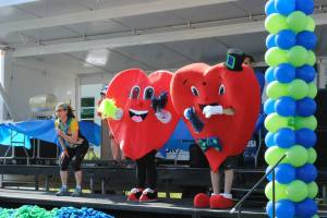 Mr. Pumps and I warming up on stage before the big walk!